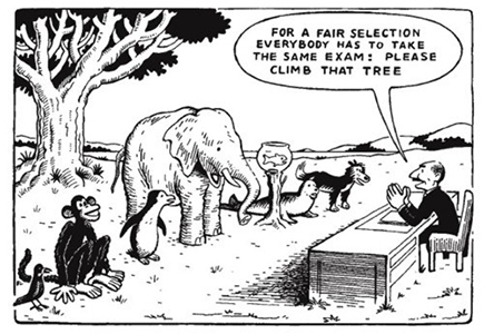 For a fair selection everybody has to take the same exam.  Please climb that tree.